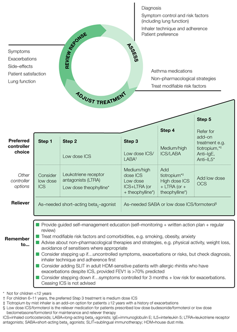 Algorithm for stepwise approach to asthma treatment 1280x1796